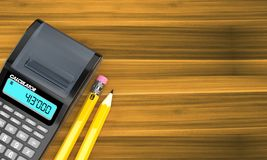 Calculator with pencils. On wooden background Stock Photography