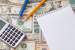 Calculator, pens and pad Royalty Free Stock Image