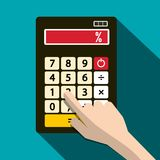 Calculator with Percent % Symbol and Human Hand. Vector Flat Design Illustration Royalty Free Stock Photos