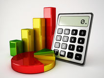 Calculator and pie chart Stock Image