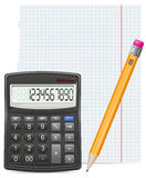 Calculator piece of paper and pencil Royalty Free Stock Image