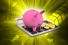 Calculator with piggy bank Stock Images