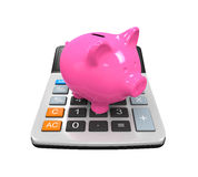 Calculator Piggy Bank Royalty Free Stock Images