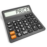 Calculator with PRICE on display. Calculator with PRICE on display on white background. 3D illustration stock illustration