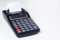 Calculator with printer. Black calculator with print function Royalty Free Stock Photo