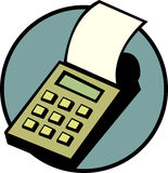 Calculator with printer vector illustration. Vector illustration of a calculator with printer Royalty Free Stock Photography