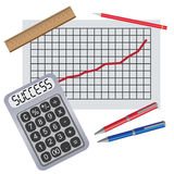 Calculator with progress chart. Stock Image