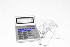 Calculator and protractor Stock Image