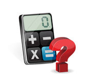 Calculator and question mark illustration Stock Photo