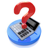 Calculator and question mark Royalty Free Stock Photography