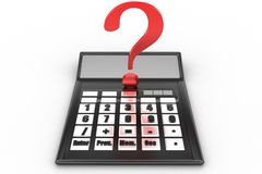 Calculator with question mark Royalty Free Stock Photos