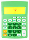 Calculator with question mark on white Royalty Free Stock Photo