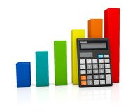 Calculator and rainbow graph diagram. Concept: calculator and rainbow growing graph diagram on white glossy plane Stock Photo