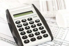 Calculator and receipts Stock Image