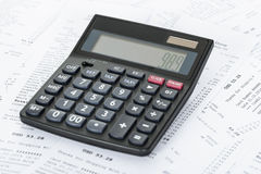 Calculator and Receipts With Costs Stock Images