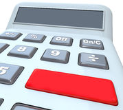 Calculator Red Button Blank Copy Space Digital Display. Calculator with big blank red button for your own text and a digital display with copy space for your Royalty Free Stock Photo