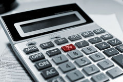 Calculator red % symbol. Calculator red % smbol business concept background Stock Image