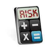 Calculator with risk on display illustration. Design over white Stock Photos