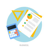 Calculator, ruler and paper on an office desk. Calculator, ruler and paper page with charts icon on an office desk Royalty Free Stock Image