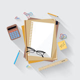Calculator, ruler and paper on an office desk. Calculator, ruler and paper page icon on an office desk Stock Photo