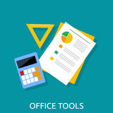 Calculator, Ruler and Paper. Office Tools Stock Photo