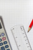 Calculator,Ruler,Pencil Stock Photography
