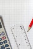 Calculator,Ruler,Pencil Stock Photography