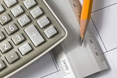 Calculator ruler and pencil Royalty Free Stock Photo
