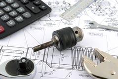 Calculator ,ruler ,wrench Stock Photo
