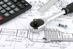 Calculator ,ruler ,wrench Royalty Free Stock Images
