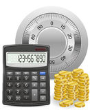 Calculator safe and gold coins concept. Vector illustration isolated on white background Stock Photos