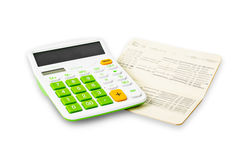 Calculator and saving account passbook. Stock Image