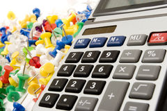 Calculator and school supplies royalty free stock image