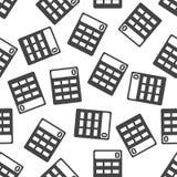 Calculator seamless pattern background icon. Flat vector illustr Royalty Free Stock Image