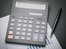 Calculator on a sheet with charts. 3d rendering. Calculator on a sheet with charts and pen. 3d rendering Stock Image