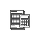 Calculator and sheet line icon, outline vector sign, linear pictogram isolated on white. Accounting symbol, logo illustration Royalty Free Stock Photography