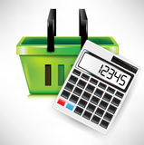 Calculator and shopping basket Royalty Free Stock Photos