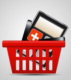 Calculator and shopping basket vector illustration Stock Image