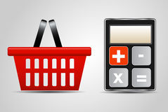 Calculator and shopping basket vector illustration Stock Images