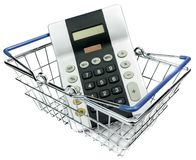 A calculator in a shopping basket Stock Images