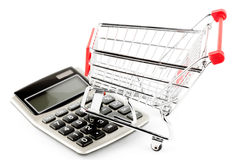 Calculator with a shopping cart. Royalty Free Stock Photo