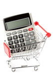 Calculator with a shopping cart. Stock Photo