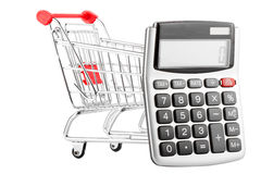 Calculator with a shopping cart Royalty Free Stock Photos