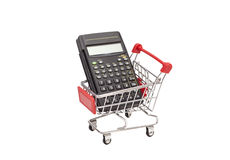 Calculator in  shopping trolley cart.Financial Royalty Free Stock Photo