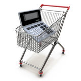 Calculator in shopping trolley cart  on white.Financial Stock Photos