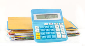 Calculator show number of expense Royalty Free Stock Image