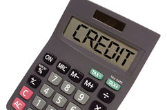 Calculator showing text credit Royalty Free Stock Image
