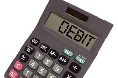 Calculator showing text debit Royalty Free Stock Image