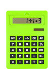 Calculator showing Wrong, Paradox Calculation. Big green calculator, showing 1+1=3 paradoxical calculation, isolated on White royalty free stock photo