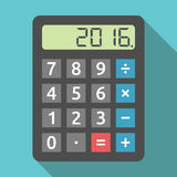 Calculator showing 2016 year. Digital calculator showing 2016 number. Finance, accounting, revenue, tax and results of year concept. Flat design. EPS 8 vector Royalty Free Stock Photo